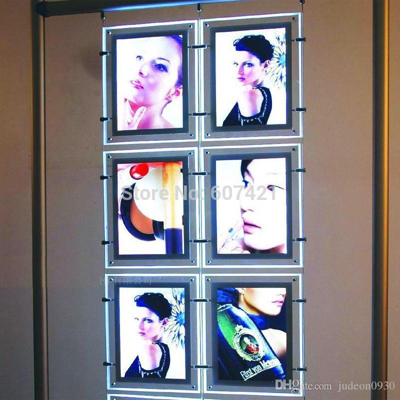 (6 unités / colonne) Kits d'affichage de fenêtre 2x3 LED Portrait A4 double face A4 A4