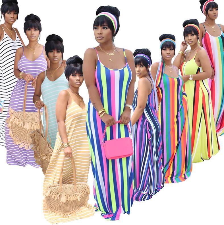 المرأة مثير الهيئة غير الرسمية اللباس الحمالات التنورة مخطط فساتين طويلة رسائل سليم نحيل حزب الصيف تنورة اللباس نادي D52208CZ