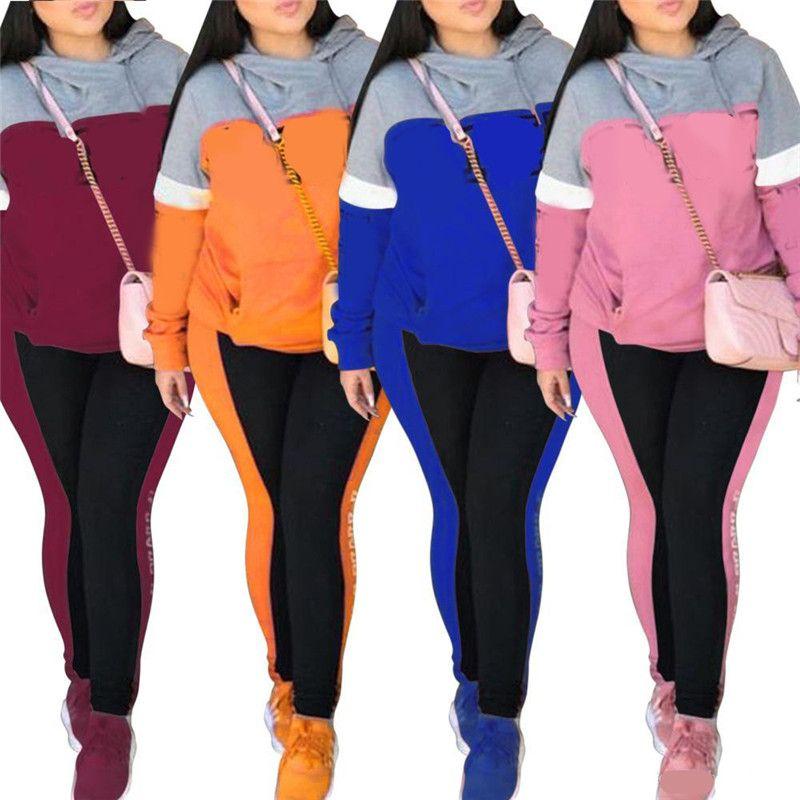 النساء الخريف التباين اللون رياضية إلكتروني طباعة مصمم 2 قطع الدعاوى الرياضية الأزياء النسائية عارضة الملابس النسائية