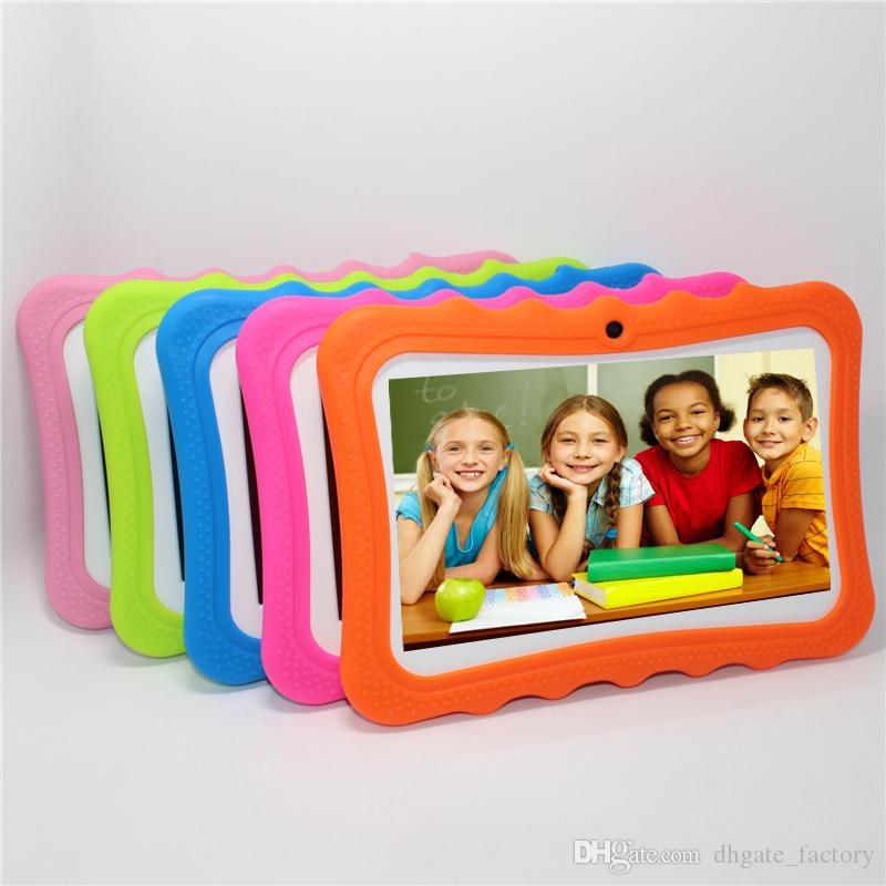 "2019 DHL Kids Brand Tablet PC 7"" Quad Core children tablet Android 4.4 christmas gift A33 google player wifi big speaker protective cover 8G"