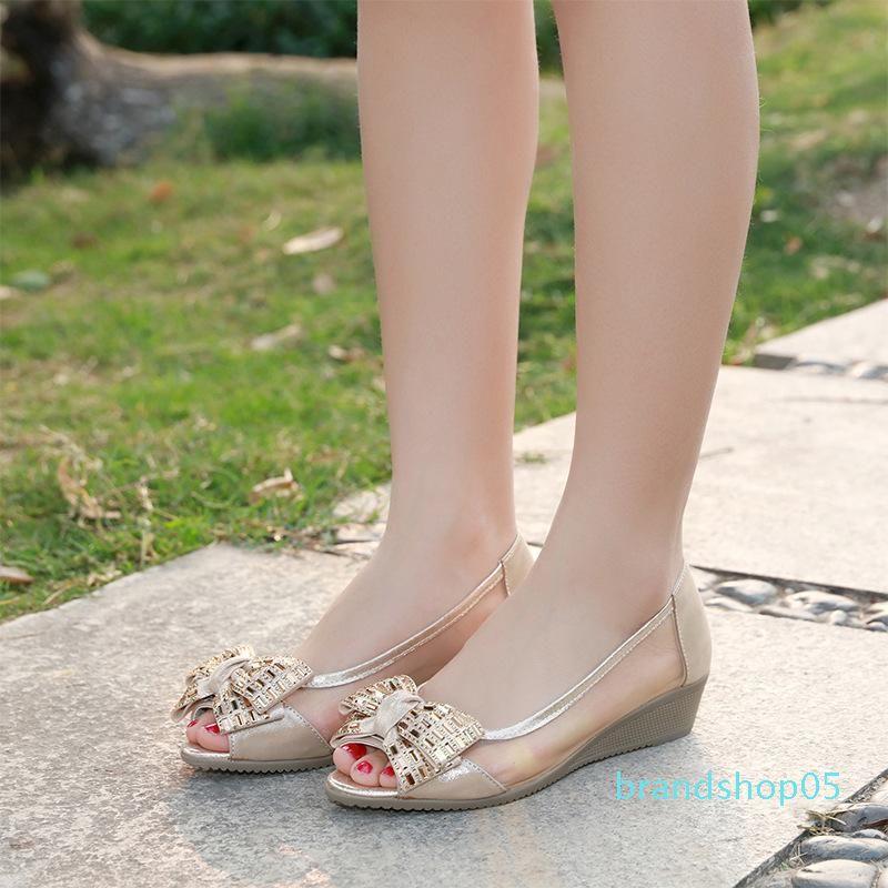 Anne Ayakkabı Will Kadın Ayakkabıları ile Fairy2019 Düz Deri Hakiki burnu açık Ox Tendon Yumuşak Alt Yamaç
