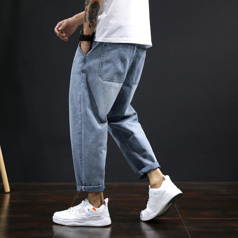 CRNam wtP17 de primavera y verano un poco de grasa de los hombres ocasionales rectos tejidas pantalones de mezclilla pantalones casuales estudiante guapo pantalones hasta los tobillos Harlan