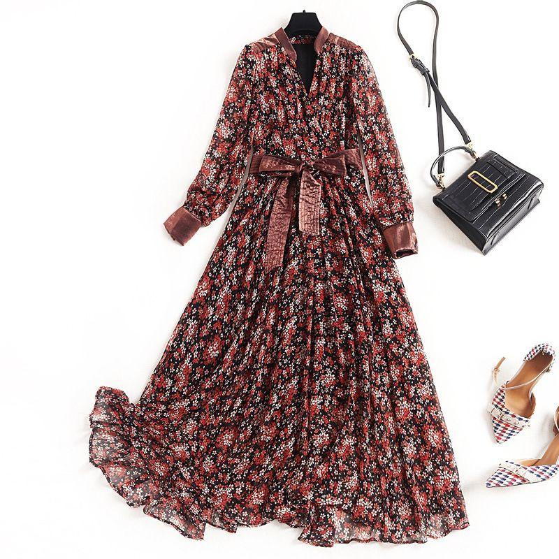2020 de primavera y verano multicolor de manga larga con cuello en V de la impresión floral de la gasa con cinturón con paneles de la media pantorrilla del vestido de la manera de los vestidos ocasionales OM112213687