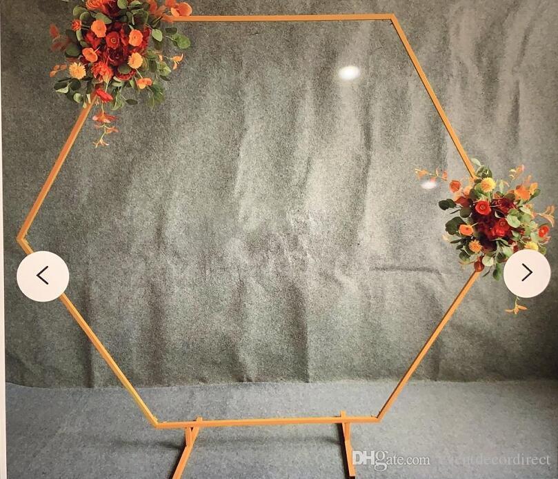 Telón de fondo de oro del hexágono Flower Stand Pasillo Camino plomo Party Decor