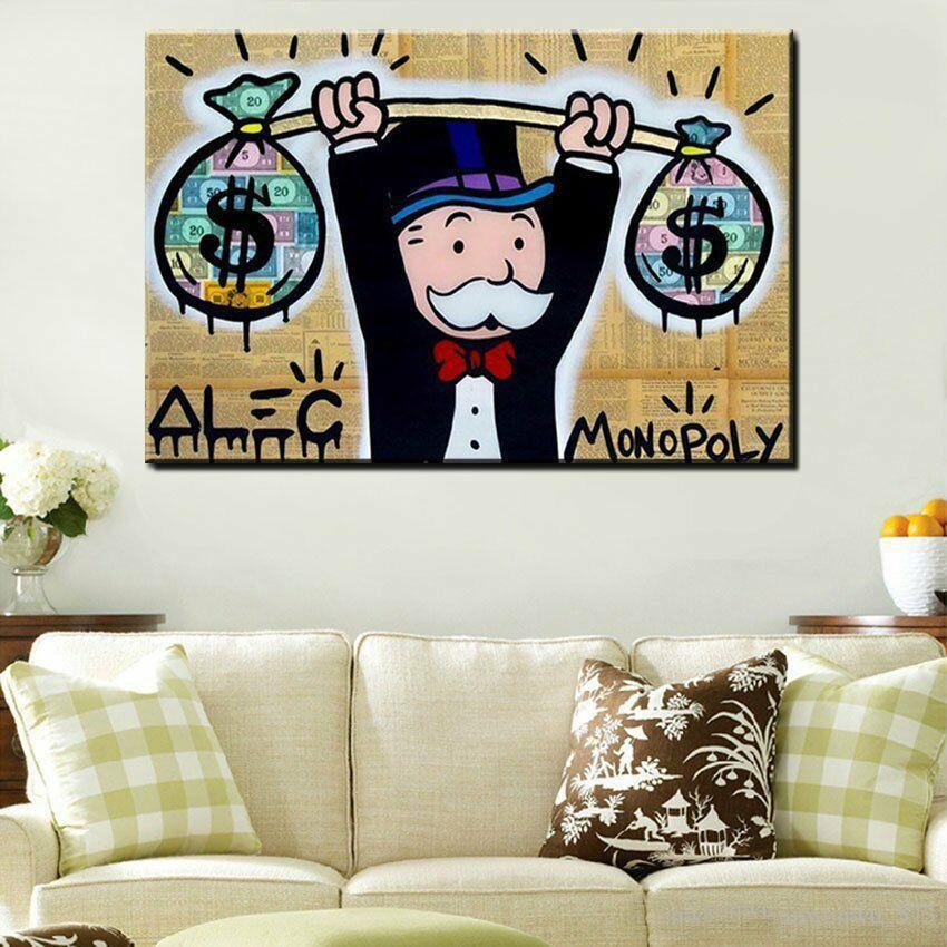Alec Monopoly Graffiti Heavy Weight Dollar Home Decor Handpainted &HD Print Oil Painting On Canvas Wall Art Canvas Large Pictures 200522