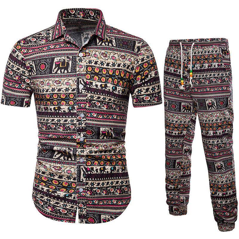 Hombre Tops con pantalones Traje de lino Mangas cortas Conjunto de ropa casual transpirable para el verano H9