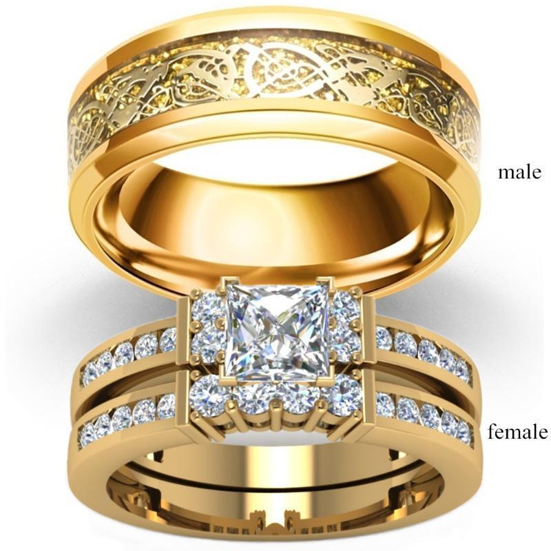 Moda Takı Çift Yüzük Vintage Ejderha Paslanmaz Çelik Erkek Yüzüğü Romantik Zirkon Yüzük Seti Gelin Nişan Hediye