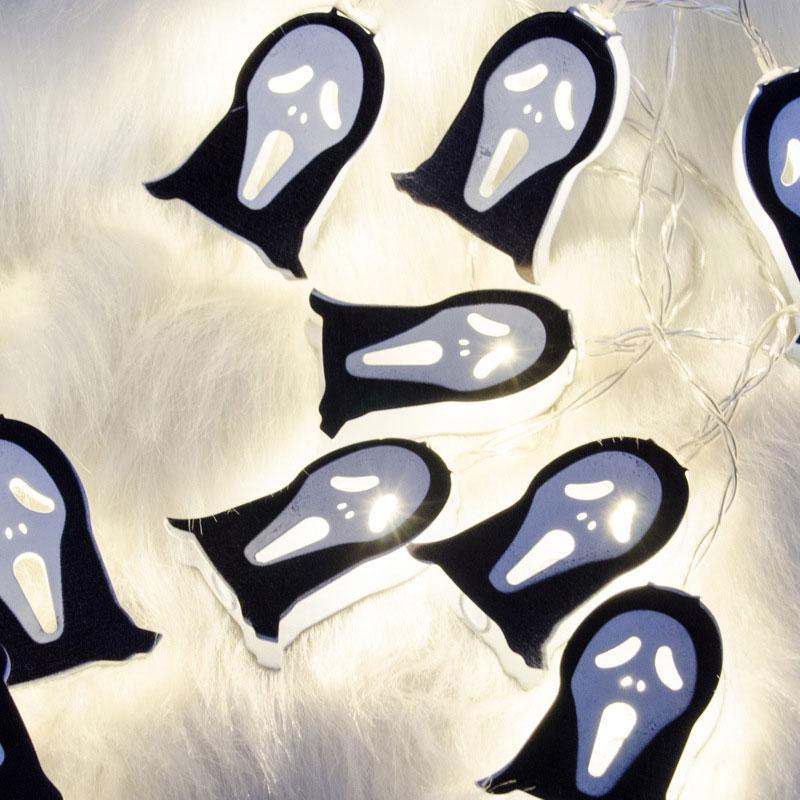 BRELONG 창조 랜턴 할로윈 장식 라이트 LED 철 고스트 배터리 라이트 재미 공포 찌 푸 린 얼굴 휴일 빛 문자열