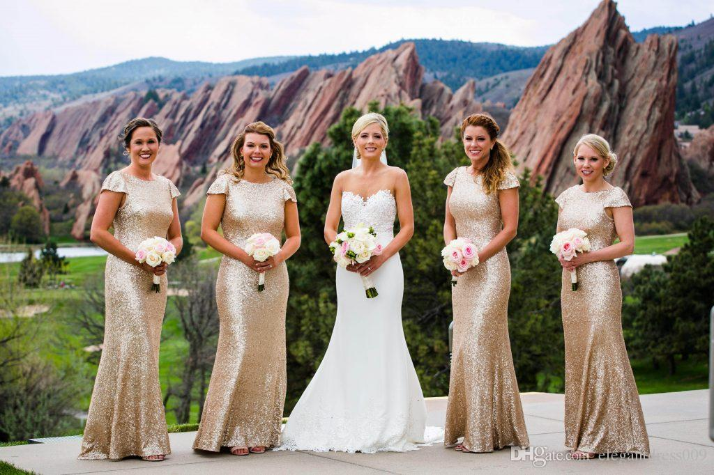 New Champagne Mermaid Bridesmaid Dresses Short Sleeves Jewel Neck Wedding Guest Dress Maid of Honor robe robes de demoiselle d'honneur