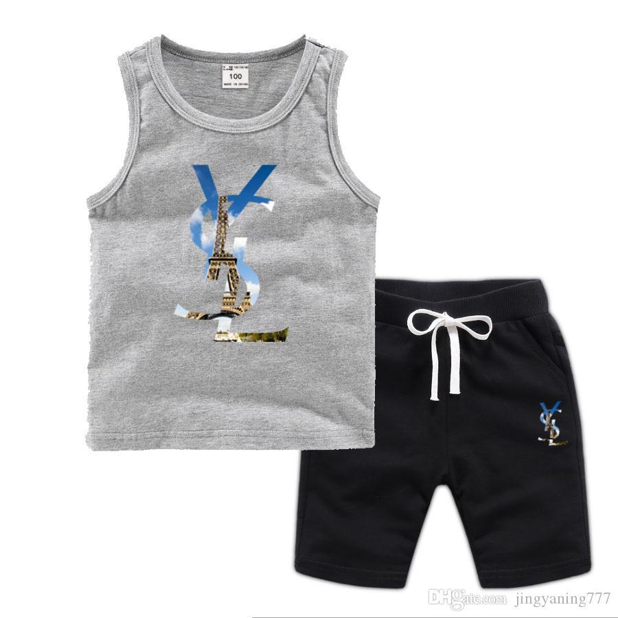 Bebé niños y niñas de diseño de las camisetas y pantalones cortos traje de marca chándales 2 Niños ropa venta caliente determinada 2-7T del verano de los niños Moda