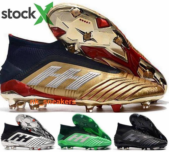 Mens Hombres grapas del tamaño de Fútbol de Estados Unidos 12 Predator 19 de fútbol AG mujeres de la bola negro botas de los zapatos para niños FG alta eur superior 46 Chaussures nueva llegada 2020