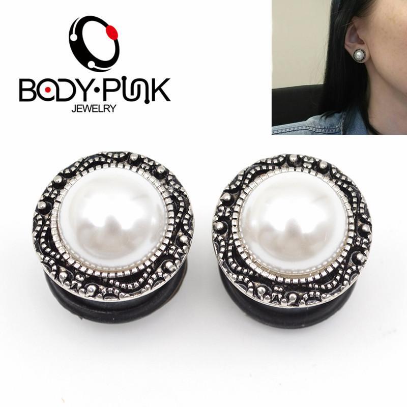 CUERPO PUNK venta caliente 2pcs perla tapones para los oídos túnel de la carne para las mujeres del oído del túnel del pendiente de acero inoxidable perforación del cuerpo joyería 6-16mm