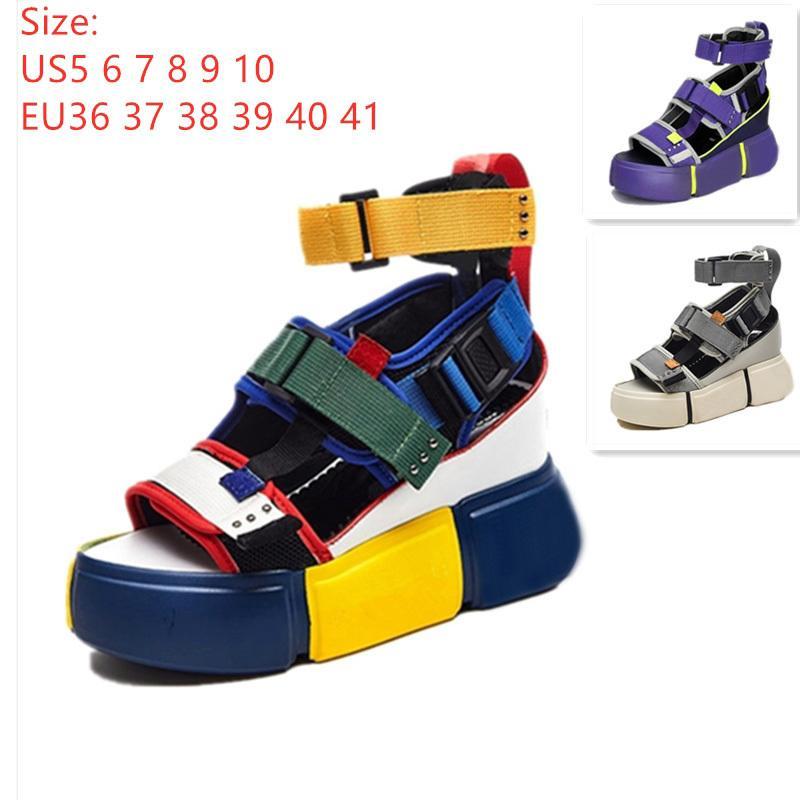 Swyivy 여성 플랫폼 2019 여성 블루 신발 캐주얼 여름 샌들 웨지 청키 하이힐 샌들 로마 발목 벨트 Y190704