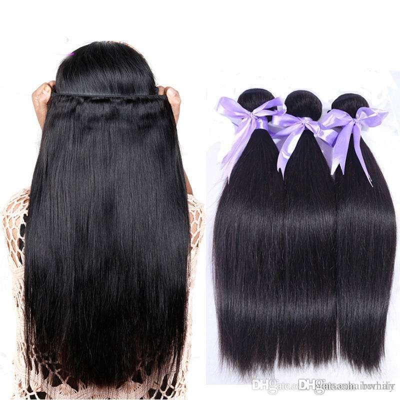 Certificação CE Preço de atacado fábrica de cabelo 100% brasileira virgem do cabelo humano tecelagem reta tecelagem 10-28 extensões de cabelo polegadas