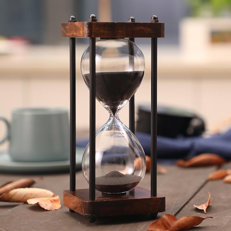15 دقيقة والساعة الرملية الرمال الموقت للمدرسة مطبخ خشبي الحديثة زجاج ساعة Sandglass الرمال على مدار الساعة مؤقتات الديكور المنزلي هدية