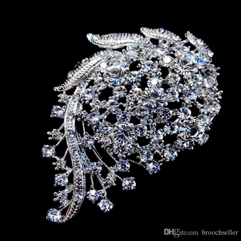 3-calowy Vintage Look Rodium Srebrny Tone Crystal Diamante Wedding Zaproszenie Broszka