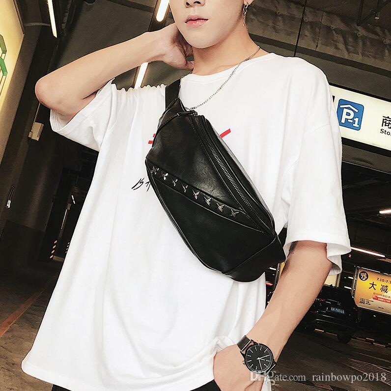 Factory wholesale men handbag street fashion rivet punk purse multifunctional leather men shoulder bag personality cool rivet chest bag
