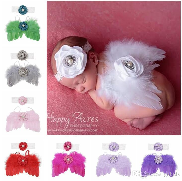 Newborn Photography Props with Angel Wings Chic Flower Lace Headband for Baby Girl Boy Toddler Camera Photo Accessories