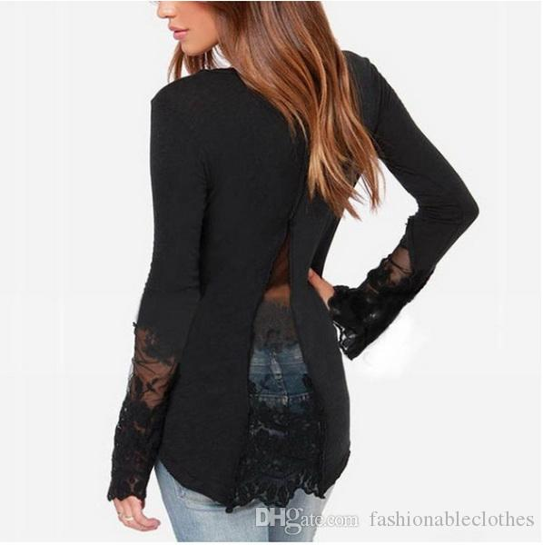 2019 Quick Sell Wish Burst Type Knitted Screen Yarn Stitching, Body Shaping  V Neck T Shirt With Forked Swallow Tail Lace Undercoat UK 2019 From