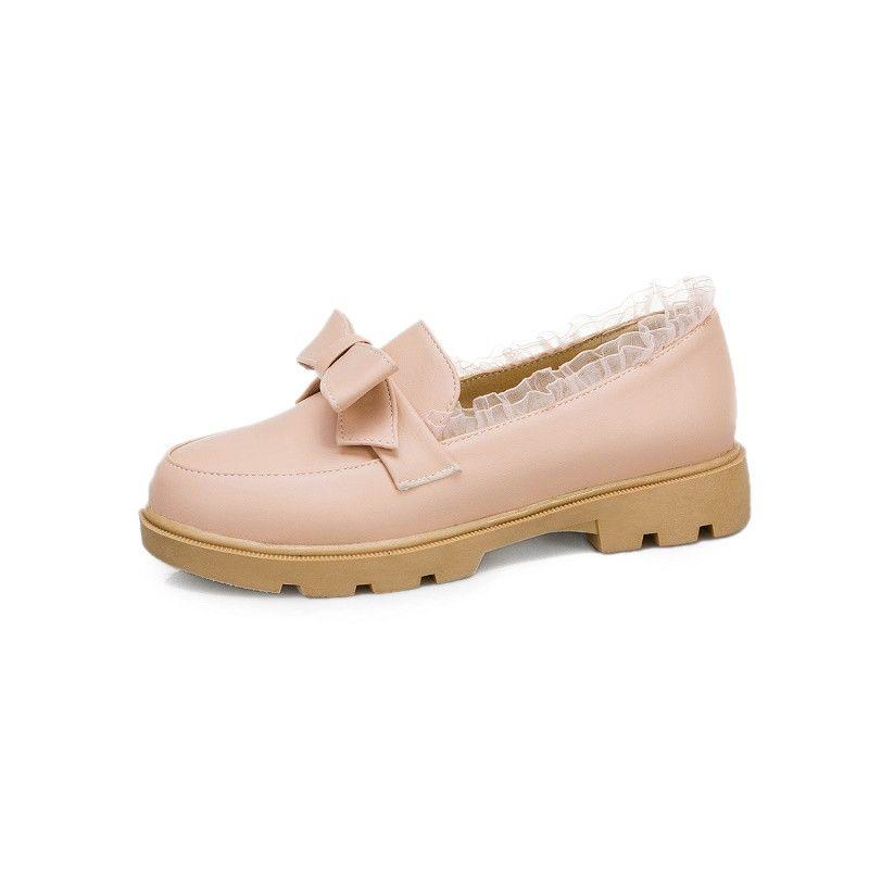 ربيع 2020 الكعوب الشعبية يوث ديلي مكتنزة أحذية لوليتا السيدات بووتي لطيف الدانتيل الأسود البيج الوردي منخفضة الكعب مضخات المرأة