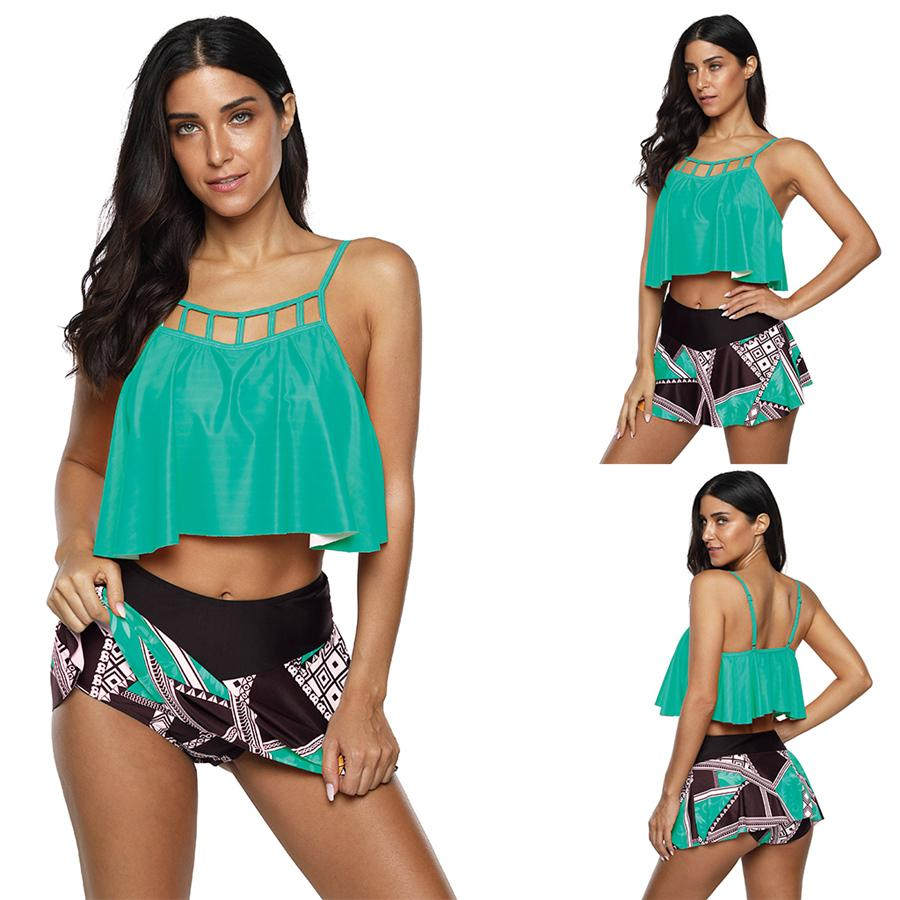 Mode Bikini Ensembles Taille du Brésil plus Tankinis femmes Costumes Deux Pièces Sports nautiques Wear Dame Natation Équipement Maillots de bain Solide Couleur