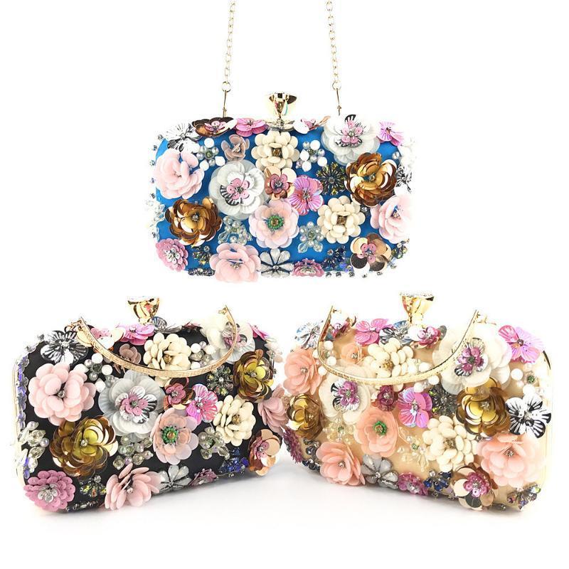 Borse per la catena borse della decorazione del fiore frizioni sera delle donne di lusso di Crossbody Borse borsa del partito di Crossbody Beach Bag