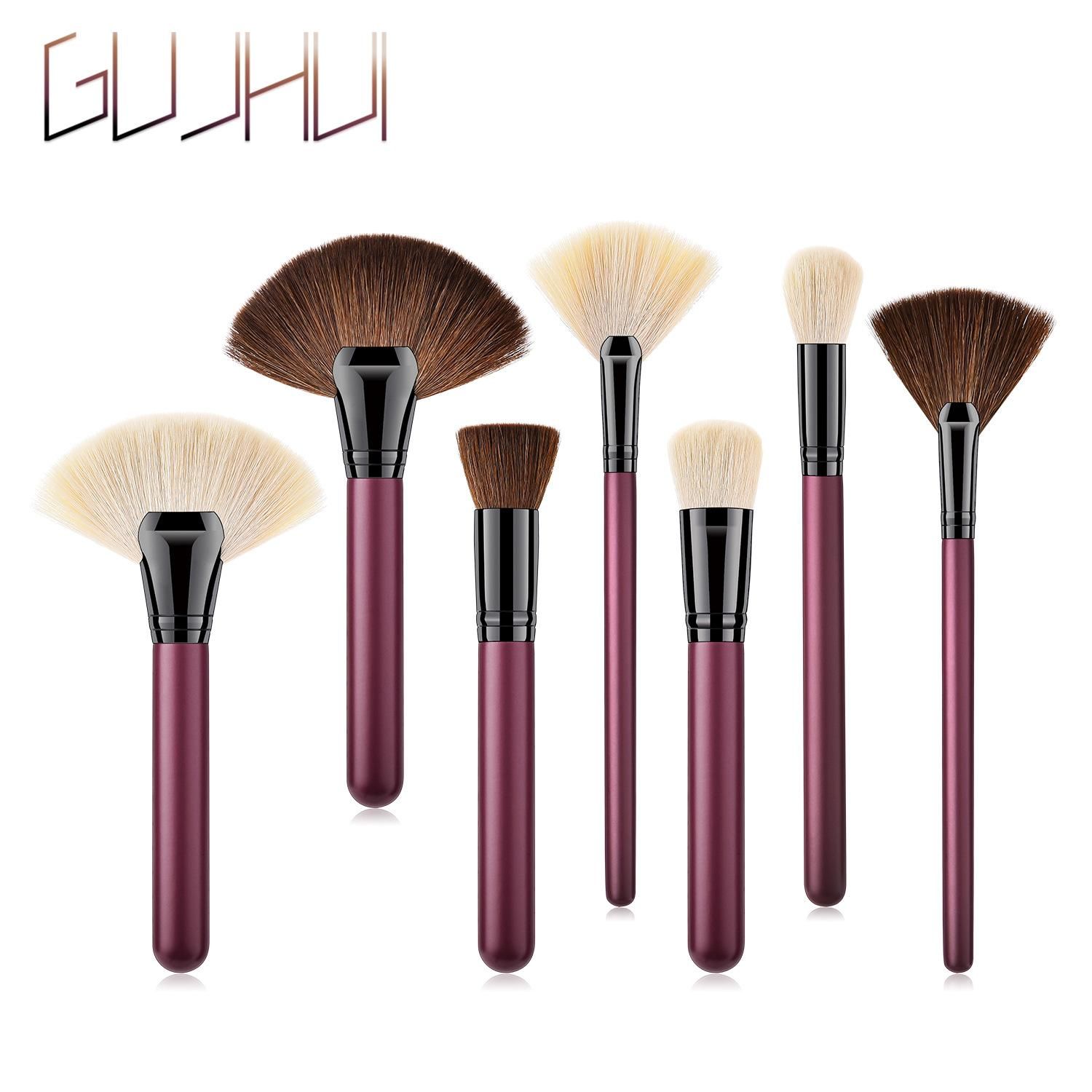 7-Brushes Complete Set - Quality Goat Hair Bronzer Cheek Cream Foundation Eyeshadow Concealer Lip Blending Makeup Brushes Beauty Tools