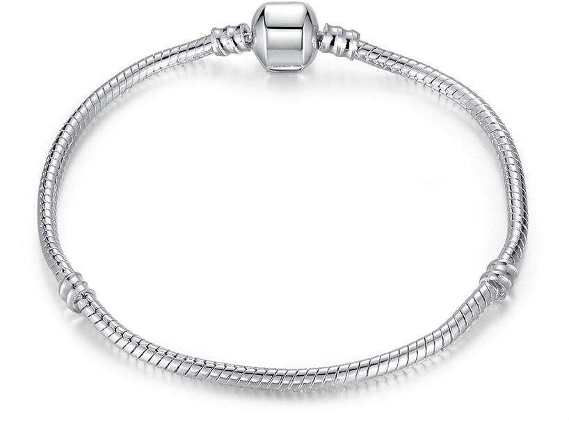 Placcato argento Bracciale Fit Donna Uomo per Pandora Perline Catena serpente Braccialetti base Braccialetti con perline Gioielli fai da te Vendita calda Migliore regalo amico