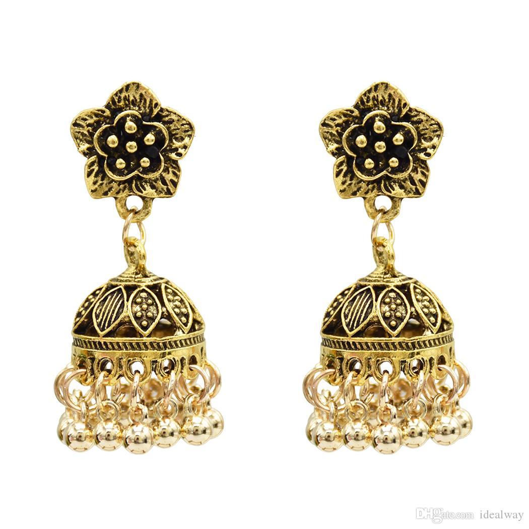 2 لون زهرة سبيكة بيان أقراط للنساء مجوهرات بوهو حفل زفاف