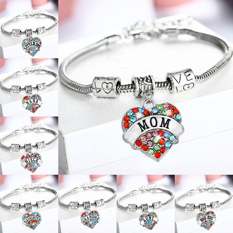 Красочные Diamond Crystal Сердце Браслеты NANA БАБУШКА BIG SIS СЕСТРА, MOM, ДОЧЬ, AUNT, племянница, ЛУЧШИЙ ДРУГ браслет