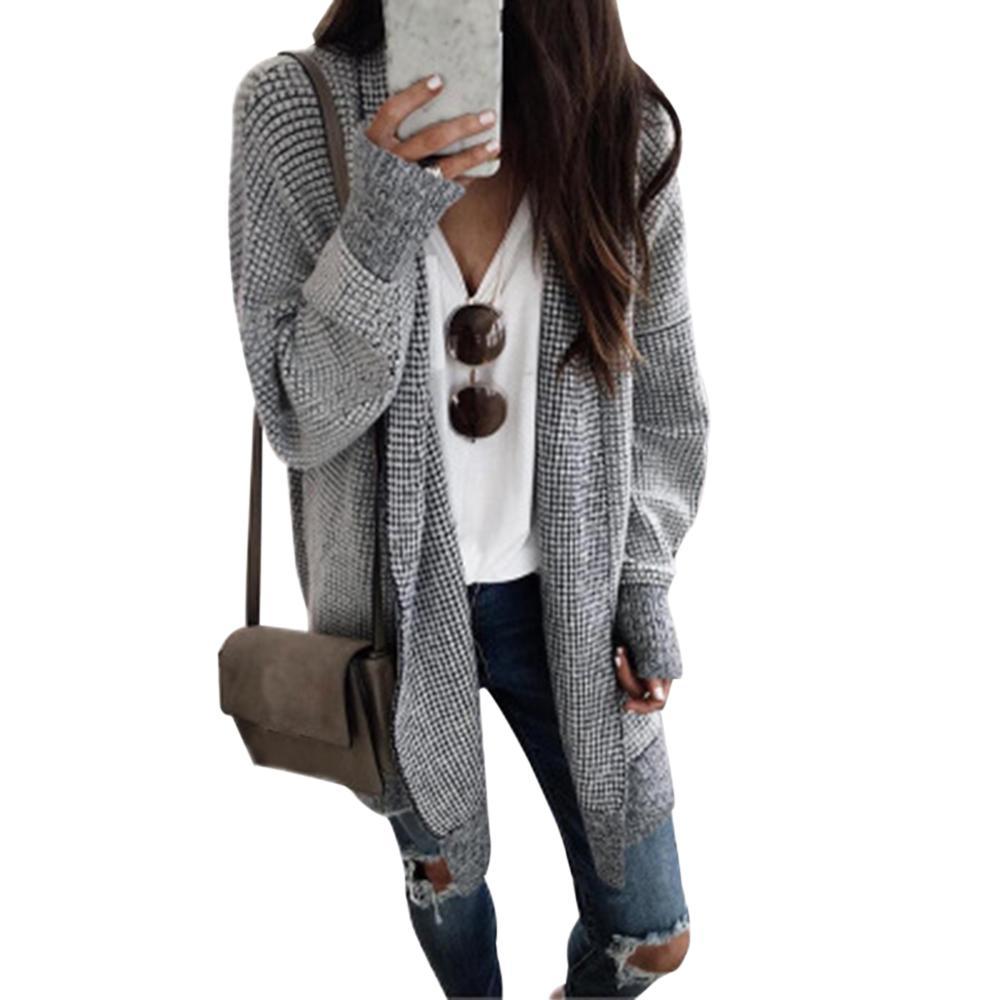 2019 Yeni Ekose Örme Triko Coat Kadınlar Sonbahar Kış Uzun Hırka Vintage Dış Giyim Kadın Casual Açık Dikiş Casaco Feminino