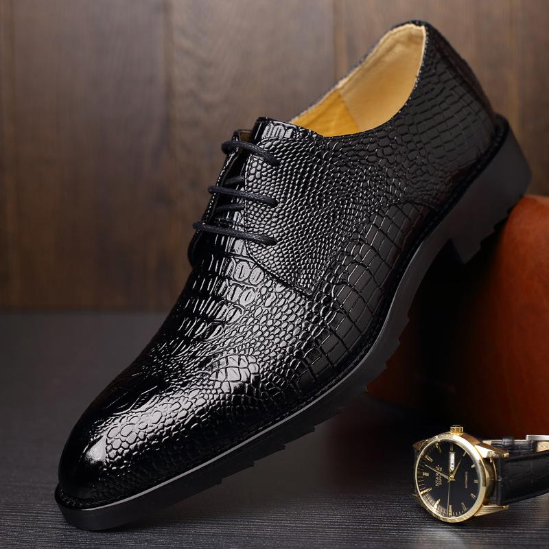 Новые осенние мужские бизнес крокодиловой кожи на шнуровке бренд мужская обувь модные деловые мужские ботинки