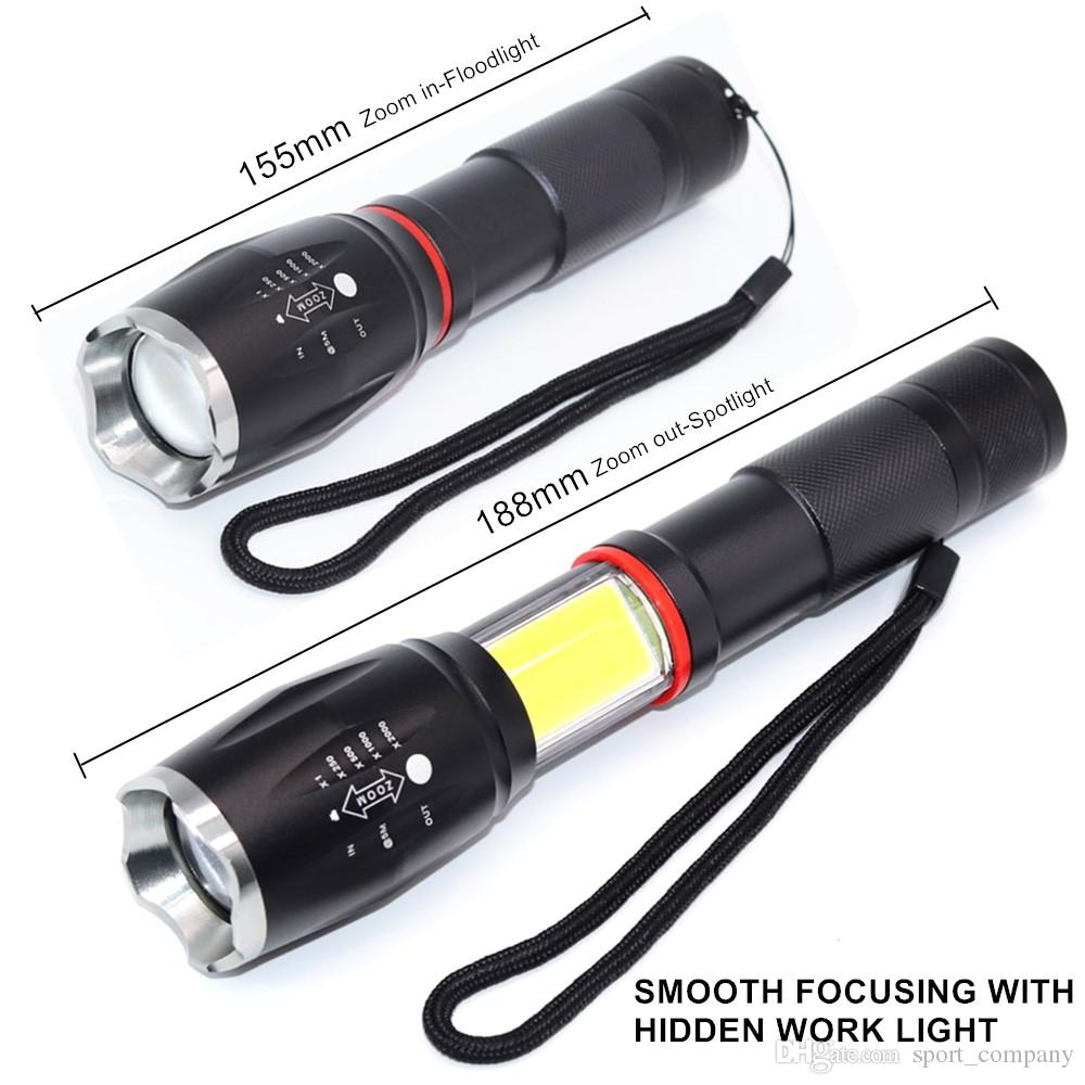 Free DHL LED Tactical Flashlight Spotlight Waterproof T6 Powerful Torch with COB Work Light Magnet Tail for Camping Hiking Cycling