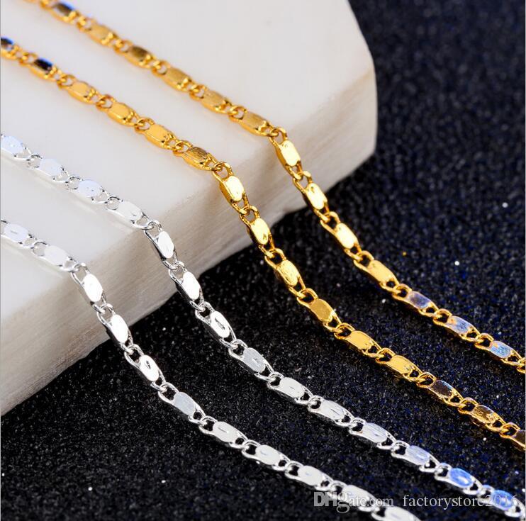 Collane a catena corta clavicola moda 18k oro placcato argento 2mm catene piatte collana di gioielli accessori per le donne