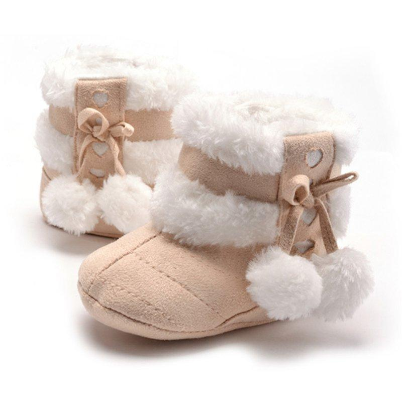 Cute Snow Cotton Warm Boots Infant Soft Soled Newborn Winter Baby Shoes For Girl Anti-slip Christmas Booties