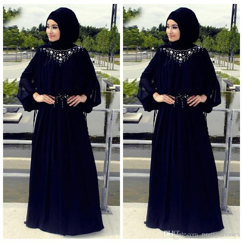 2019 Modest Long Sleeves Chiffon A-Line Prom Dresses Beaded Crystal Sweep Train Women Maxi Evening Party Gowns Custom Vestidos De Soiree