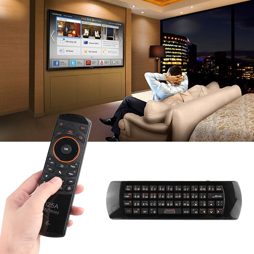 Cheap Teclados Rii Mini i25A 2.4G sem fio Fly Air Mouse russo Inglês Hebrew Keyboard Rii I25 remoto para o Android TV BOX TV remoto