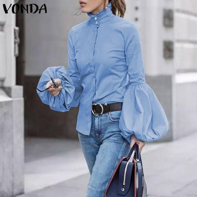 Kadın Bluz Bahar Rahat Uzun Fener Kol Gömlek Ofis Bayan Tunik Artı Boyutu Vonda 2020 Düğmeler Balıkçı Yaka Blusas Tops