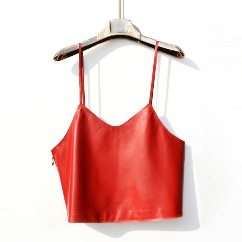 2019 الصيف مثير المرأة عارية الذراعين الحمالات الصدرية اقتصاص صدرية حقيقية الجلود سترة الخامس الرقبة قصيرة نمط أنثى أبلى معاطف