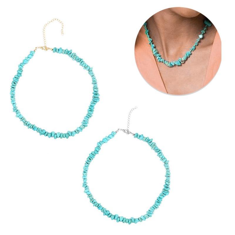 Collares de piedra de grava natural Gargantillas para mujeres Cuentas hechas a mano Charms Necklace Holiday Fashion Jewelry