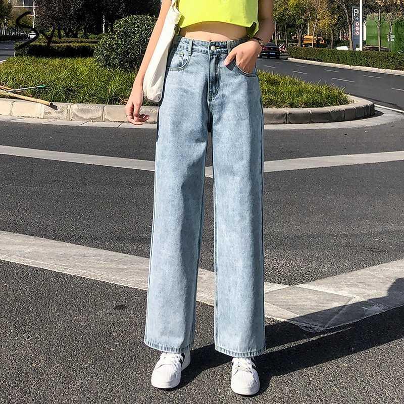 Frauen Jeans gerade hohe Taille Frau plus Größe Mutter Frauen Hosen Ganzaufnahme Denim Pants Solid Wash Korean Mode Kleidung