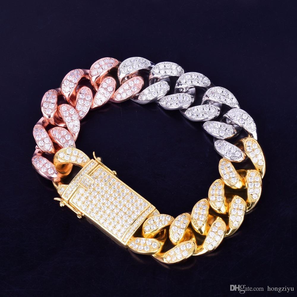 20 millimetri di larghezza Chunky Miami Uomo cubano Colorful Bracciale Bling Zirconia Hip hop Gioielli in oro argento della Rosa Grande braccialetto 18 centimetri 20 centimetri