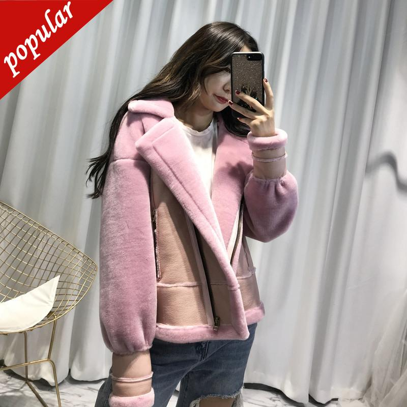 Winter Woman Shearling Coats Pu Leather Real Lambs Wool Fur Patchwork Jackets Plus Size Loose Outerwear Pilot Coat