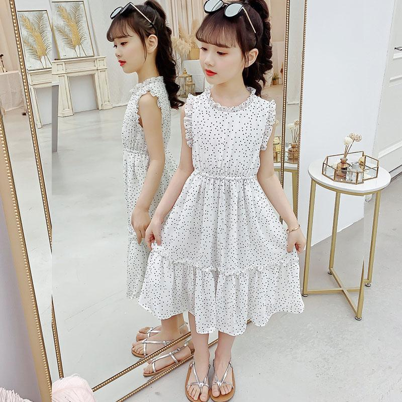 2020 New Jeunes filles d'été Maxi Dress For Kids Patchwork Enfants Baby Dress Dot Robes longues en mousseline de soie Vêtements fille blanche rouge T200417