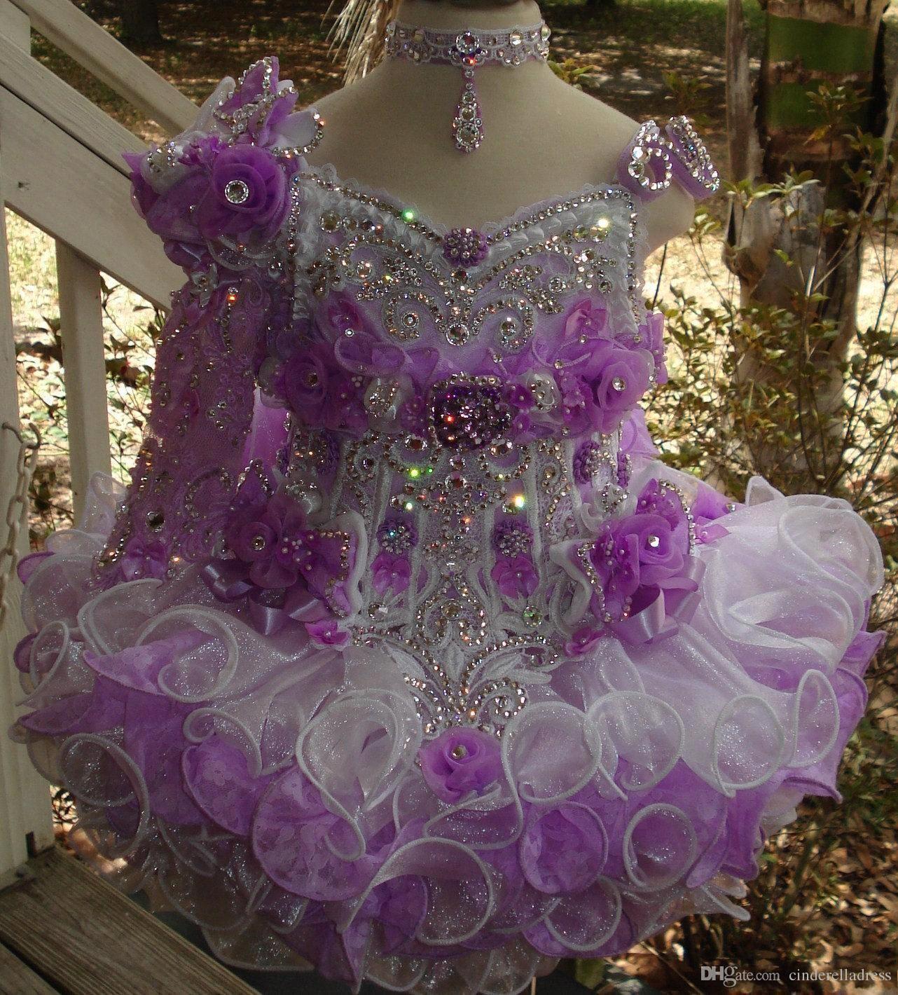 Beads lantejoula queque meninas pageant vestidos feitos à mão flor babados de um ombro manga longa flor meninas vestido bc1417