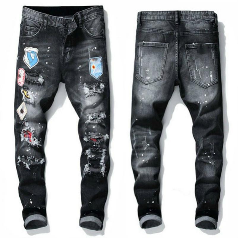 dsquared2 jeans dsq d2 20ss Erkek Rips Stretch Siyah Kot Moda Slim Fit elastik pantolon Motosiklet Denim Pantolon panelli Kalça HOP pantolonlar Yıkanmış EOYD