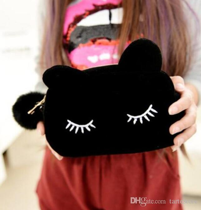 Cartoon Cat Makeup Handbag Lovely handbag lady bag pocket change purse nifty cat big cosmetic bag