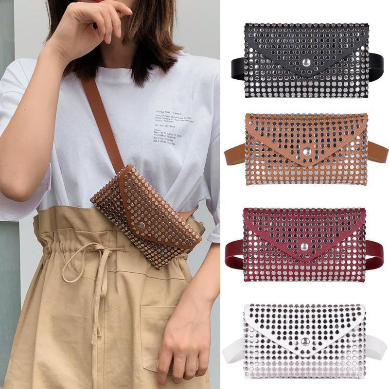 Mulheres Moda Outdoor Rebites Ferrolho cor sólida Messenger Bag Peito Bag cintura Bag rebite envelope senhora pequenas bolsas