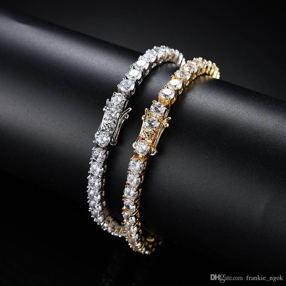 High Quality Copper Tennis Chains Micro-inclosed Zircon 3mm 4mm 5mm Twinkle Diamond Single Row Hip Hop ICED OUT Bracelets For Men Women