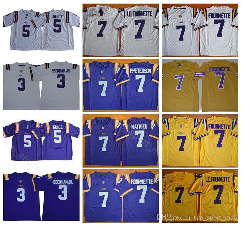 NCAA 남자 LSU 호랑이 대학 유니폼 축구 3 Odell Beckham JR 5 Derrius Guice 7 Leonard Fournette 7 Mathieu 스티치 퍼플 노란색 흰색